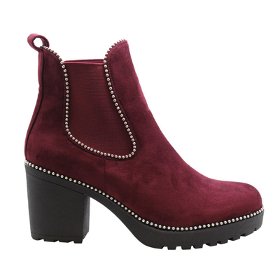 ced1d8a606a6b Stella Wine Block Heel Studded Ankle Boots -